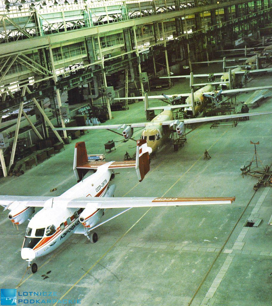 hala lotnicza z samolotami w rzędzie
